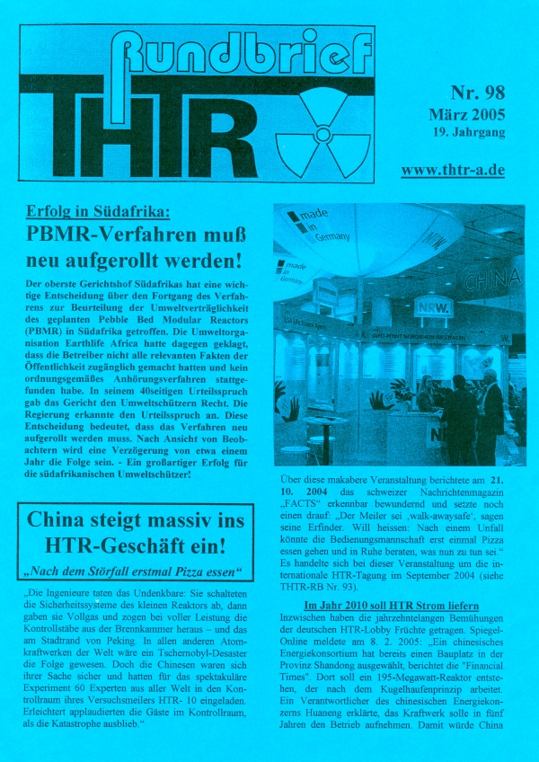 THTR-Rundbrief Nr. 98, 2005