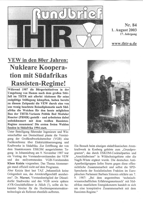 THTR-Rundbrief Nr. 84, 2003