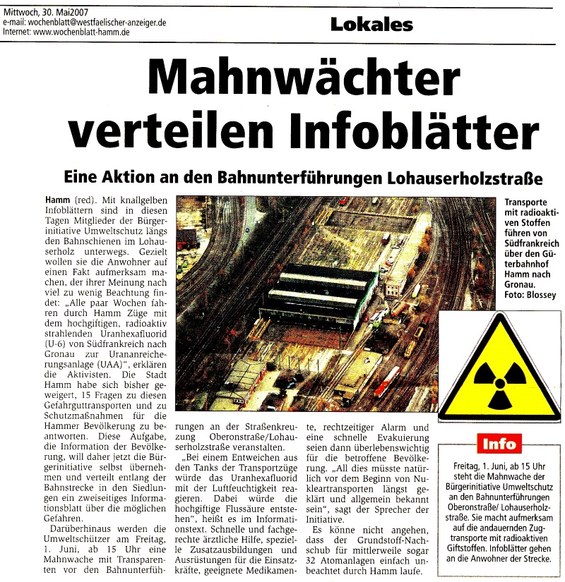 Aktion in Hamm 2007 (Zeitungsartikel)