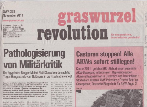 """Graswurzelrevolution"" Nr. 363, November 2011"